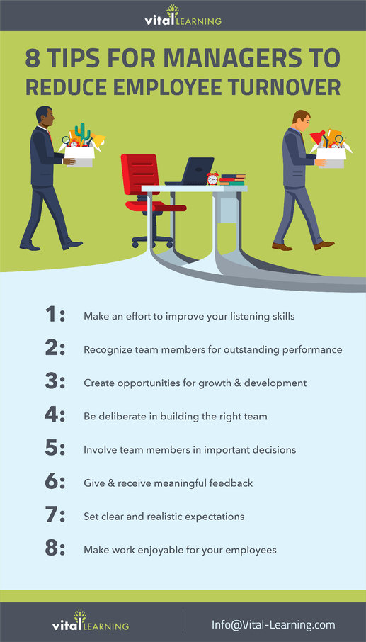 8 tips for managers to reduce employee turnover infographic